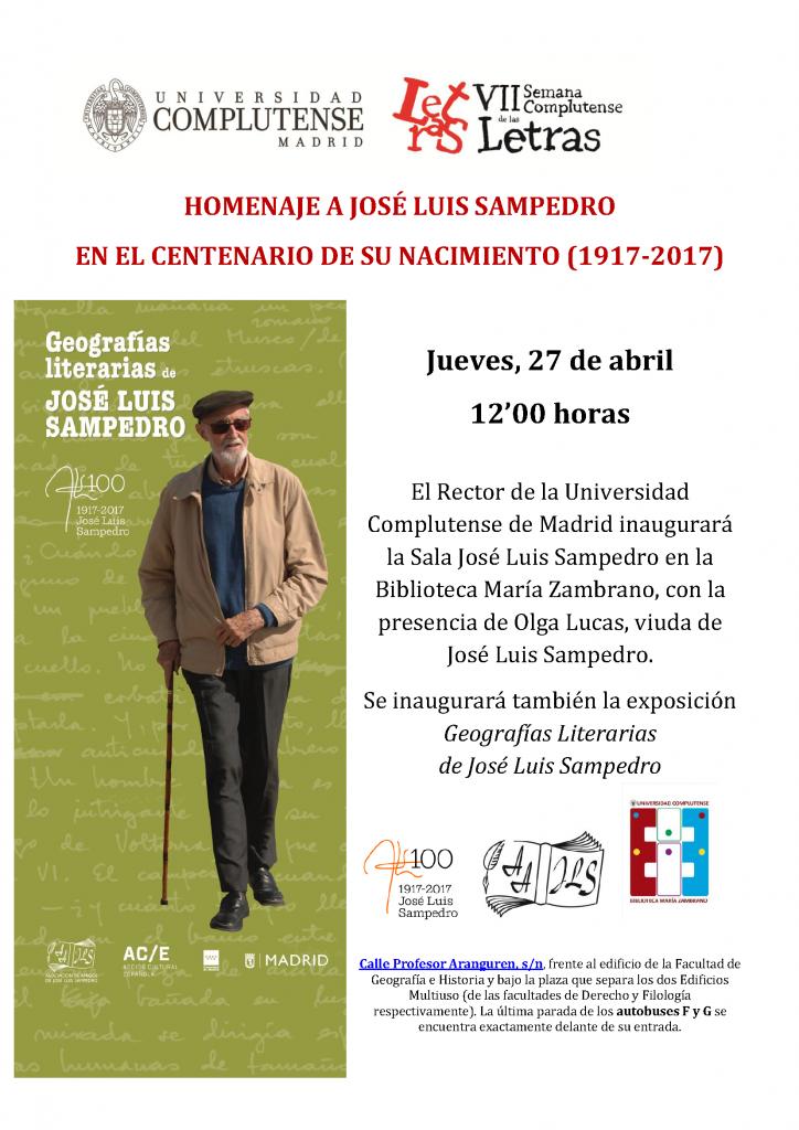 HOMENAJE A JOSÉ LUIS SAMPEDRO EN EL CENTENARIO DE SU NACIMIENTO